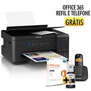 Multifuncional Tanque de Tinta Ecotank L4150 Epson + (Grátis) Office 365 Microsoft + Telefone s/fio Intelbras  CX 1 UN