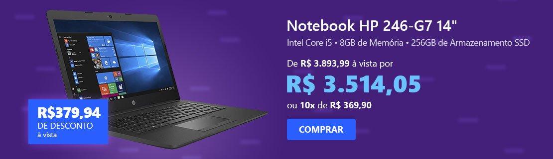 """Notebook HP 246-G7, Processador Core i5, 8GB de Memória, 256GB SSD de Armazenamento, Tela de 14"""" - 22M21LA com 9% de desconto"""