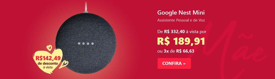 Google Nest Mini - Google Home Mini - Assistente Pessoal e de Voz - Carvão com 42% de desconto