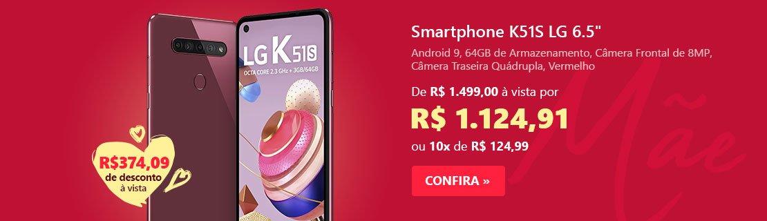 """Smartphone K51S LMK510BMW, Android 9, 64GB de Armazenamento, Câmera Frontal de 8MP, Câmera Traseira Quádrupla de 32MP + 5MP + 2MP + 2MP, Tela de 6.5"""", Vermelho - LG com 24% de desconto"""