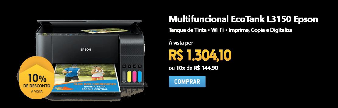 Impressora Multifuncional Tanque de Tinta EcoTank L3150, Colorida, Wi-fi, Conexão USB, Bivolt - Epson com 10% de desconto à vista