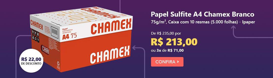 Papel Sulfite 75g Alcalino 210x297 A4 Chamex Branco - Caixa com 10 resmas - Ipaper com 9% de desconto