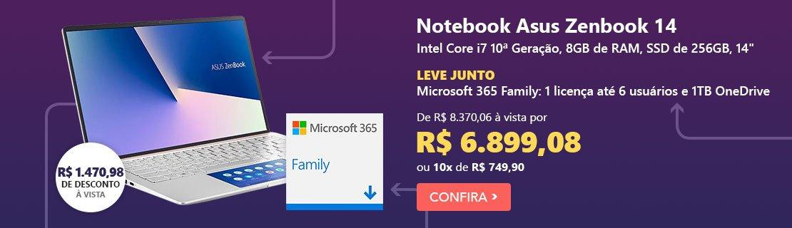 """Notebook Asus Zenbook 14, Intel Core i7 10a Geração, 8GB, 256GB SSD, 14"""", UX434FAC-A6339T + Microsoft 365 Family: 1 licença até 6 usuários (Word, Excel, PowerPoint, Outlook e 1TB OneDrive) com 17% de desconto"""