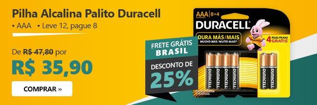 Pilha Alcalina Palito Duracell com 25% de desconto
