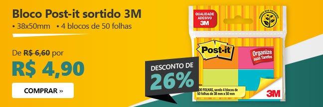 Bloco Post-it sortido 3M com 26% de desconto