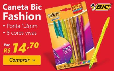 Caneta esferográfica 1.2mm 8 cores Fashion Vivas 930188 Bic BT 8 UN