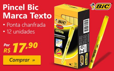 Pincel marca texto Marking amarelo 854815 Bic CX 12 UN