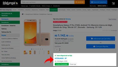 Botão de informação de disponibilidade em lojas físicas