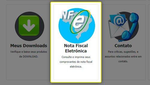 Botão de acesso às Notas Fiscais do cliente