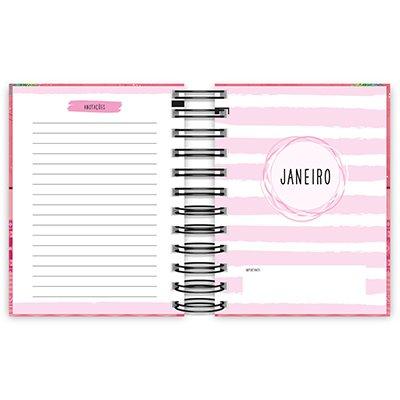 Agenda diária mini Hang Loose rosa 2021 Spiral PT 1 UN