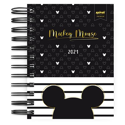 Agenda diária mini Mickey Mouse listras 2021 Spiral PT 1 UN