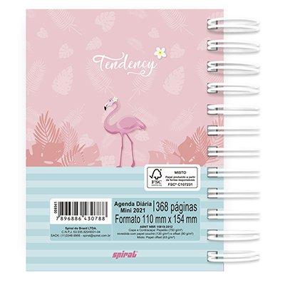 Agenda diária mini Tendency Flamingo 2021 Spiral PT 1 UN
