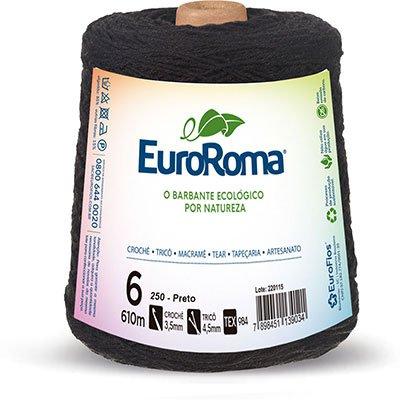 Barbante 85% algodão c/610m preto 620250 Euroroma PT 1 UN