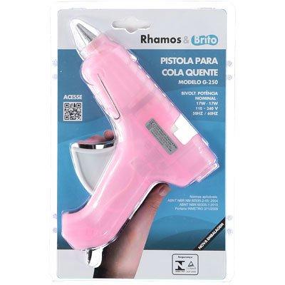 Pistola p/ cola quente grossa Hot Melt rosa g-250 Rhamos e Brito BT 1 UN