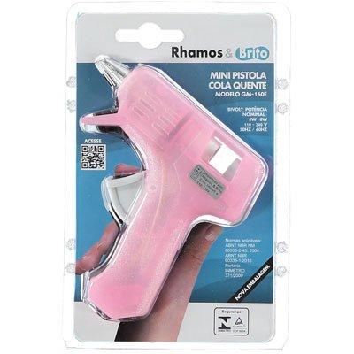 Pistola p/ cola quente fina Hot Melt rosa gm-160e Rhamos e Brito BT 1 UN