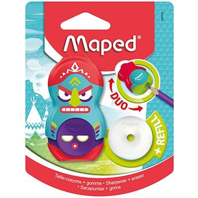 Apontador Loopy Totem, com depósito e borracha, cores sortidas, 049130, Maped BT 1 UN
