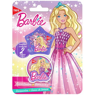Apontador c/deposito + 1 borracha Barbie 630939 Tris BT 2 PC