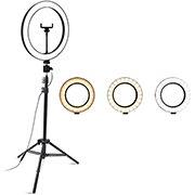 Ring Light Iluminador c/ Anel 10 Polegadas - 25cm c/ 3 Tonalidades de Luz, Tripé de 2,10m e Suporte para Smartphone - Smarts PC 1 UN