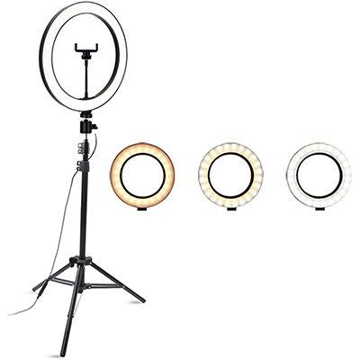 """Ring Light Iluminador c/ Anel 12"""" Polegadas - 30cm c/ 3 Tonalidades de Luz, Tripé de 2,15m e Suporte para Smartphone - Smarts CX 1 UN"""