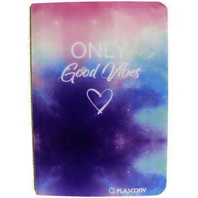 Caderno anotações 16,5x23cm pontilhado 60 fls Tie dye Plascony PT 1 UN