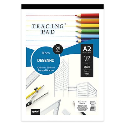 Bloco desenho A2 branco 180g Tracing Pad 81395 Spiral BL 20 FL