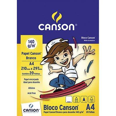 Bloco desenho A4 branco 140g Canson BL 20 FL