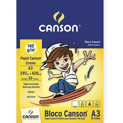 Bloco desenho A3 creme 140g Canson BL 20 FL