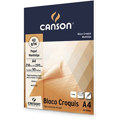 Bloco papel manteiga croquis A4 40g Canson BL 50 FL