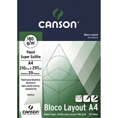 Bloco lay-out liso A4 180g Canson BL 20 FL