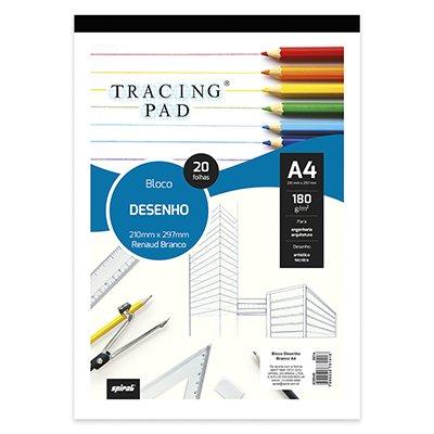 Bloco desenho A4 branco 180g Tracing Pad 81418 Spiral BL 20 FL