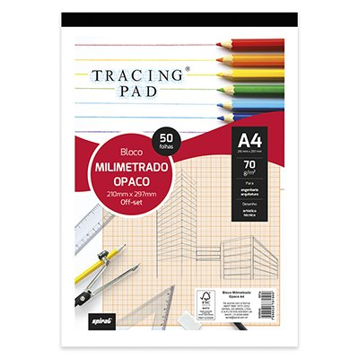 Bloco milimetrado opaco A4 70g Tracing Pad 81500 Spiral BL 50 FL