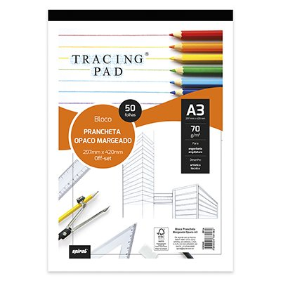 Bloco prancheta opaco c/margem A3 70g 50fls Tracing Pad 81562 Spiral BL 50 FL