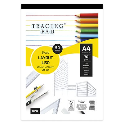 Bloco lay-out liso A4 70g Tracing Pad 81470 Spiral BL 50 FL