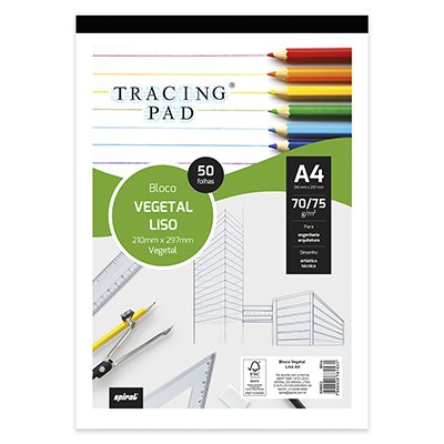 Bloco vegetal liso A4 70/75g Tracing Pad 81531 Spiral BL 50 FL