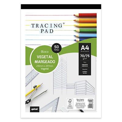 Bloco vegetal margeado A4 70/75g  50 fls Tracing Pad 81548 Spiral BL 50 FL