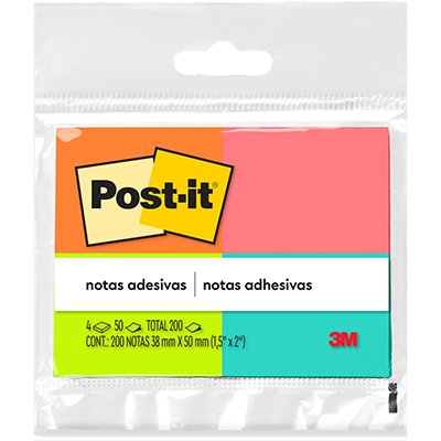 Bloco Post-it 38x50mm sortido c/ 200fls 3M BT 4 UN