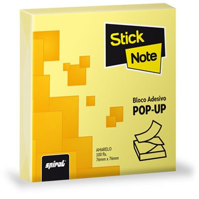 Bloco autoadesivo 76x76 pop-up amarelo c/100fls Stick Note PT 1 UN