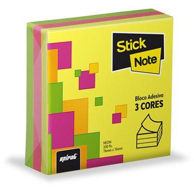 Bloco autoadesivo 76x76 neon 3 cores c/100fls Stick Note PT 1 UN