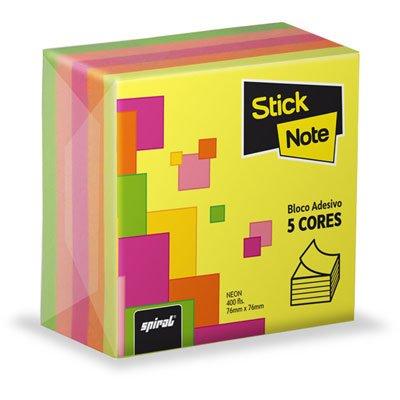 Bloco autoadesivo 76x76 neon 5 cores c/400fls Stick Note PT 1 UN