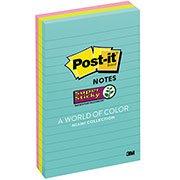 Bloco Adesivo Post-it® Pautado Neon - 101 mm x 152 mm - 135 folhas 3M PT 1 UN