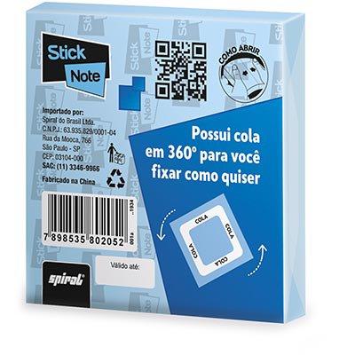 Bloco autoadesivo 76x76 Cola 360 Graus azul com 100 folhas Stick Note PT 1 UN