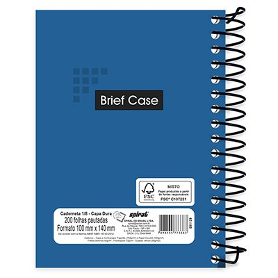 Caderneta 1/8 capa dura espiral 200fls Brief Case azul 73383 Spiral PT 1 UN