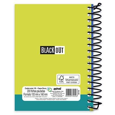 Caderneta 1/8 capa dura 200fls Black Out azul 90403 Spiral Blk PT 1 UN