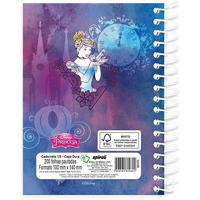 Caderneta 1/8 capa dura 200fls Princesas 19308 Spiral Pn PT 1 UN