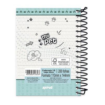 Caderneta 1/8 capa dura 200fls My Pet 20983 Spiral Pet PT 1 UN
