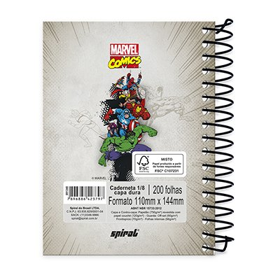Caderneta 1/8 capa dura 200fls Marvel 20978 Spiral Mv PT 1 UN