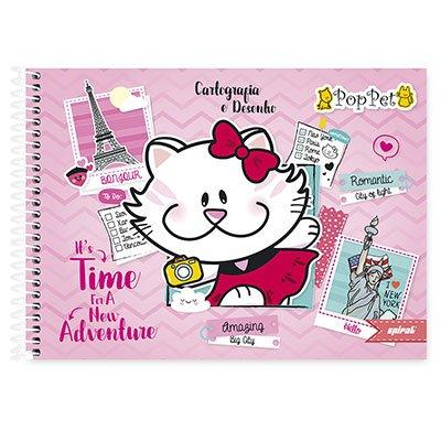 Caderno cartografia capa dura 48fl Pop Pet 20932 Spiral Pop PT 1 UN