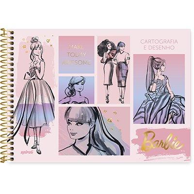 Caderno cartografia capa dura 48fls Barbie 212827 Spiral Brb PT 1 UN