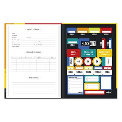 Caderno universitário capa dura brochura costurado 80 folhas Black Out 212213 Spiral PT 1 UN