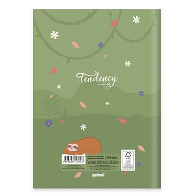 Caderno universitário capa dura brochura costurado 80 folhas Tendency Preguiça 212258 Spiral PT 1 UN